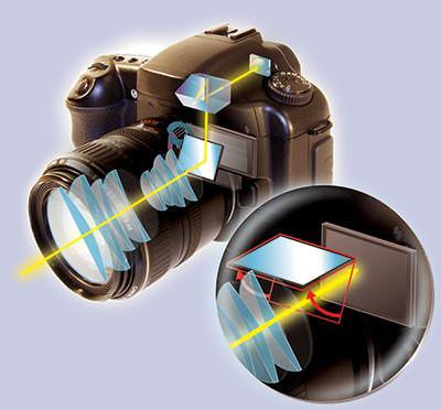 Il percorso che percorre la luce: dall'obiettivo arriva allo specchio, poi al sensore e al pentaprisma